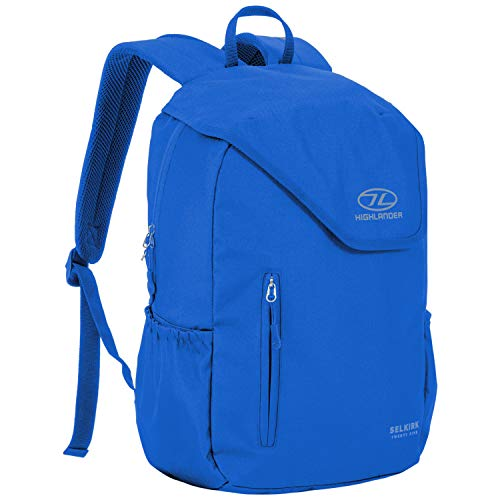 Highlander 25L Daysack – Water Resistant Backpack Ideal for Carry on Luggage, Commuting, School College University and Hiking – The Selkirk Daypack (Blue)