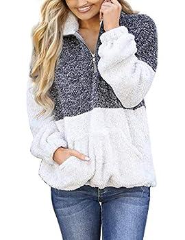 MEROKEETY Women s Long Sleeve Contrast Color Zipper Sherpa Pile Pullover Tops Fleece with Pocket