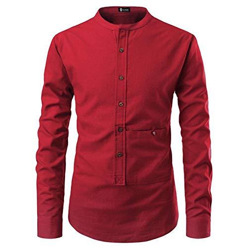Camisa Tipo pulóver de Color sólido para Hombre Moda Cuello Alto Costuras Manga Larga Moda Simple Versátil Casual Cómodo Camisas básicas L