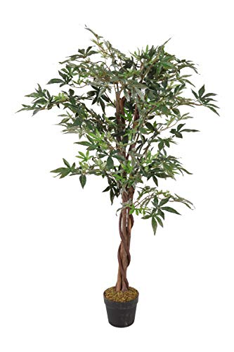 Spetebo Kunstpflanze Ahorn im Blumentopf - 115 cm - Deko Pflanze Zimmerpflanze künstlich Kunstbaum