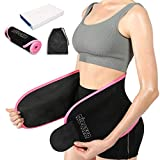 Sweat Band Waist Trainer for Women, Powerful Sticker Stay Attached, Fitness Workout Neoprene Plus Size Waist Trimmer Sweat Belt with Carry Bag Gift Packing Rose XL