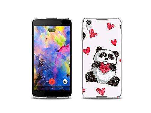 etuo Handyhülle für BlackBerry DTEK50 - Hülle, Silikon, Gummi Schutzhülle - Panda mit Herz