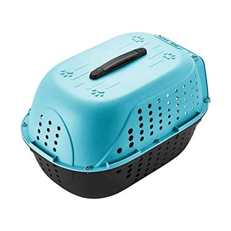 Royale Dog Pet Travel Carrier Dog Cat Rabbit Basket Plastic Handle Hinged Door Folding Collapsible Transport Box Crate Cage for Puppy Cats, Dimensions : 48 x 32 x 30 cm- Sky Blue