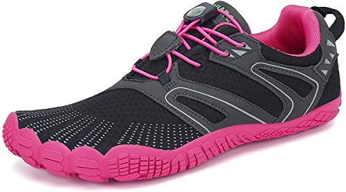 SAGUARO Barfußschuhe Damen Outdoor Fitnessschuhe Frauen Barfuß Laufschuhe Walkingschuhe Traillaufschuhe Straßenlaufschue rutschfest Zehenschuhe St.6 Rose 38