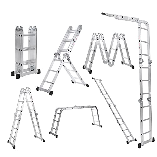iKayaa Plateforme Multifonctions Échelle en Aluminium Pliage (#2)