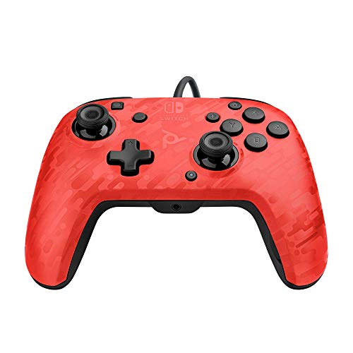 PDP Faceoff-Controller Deluxe+ Audio mit Kabel für Nintendo Switch in Camouflage/rot [ ]