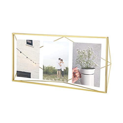 Umbra Prisma Multi Picture Frame – Photo Display for Desk or Wall, Brass