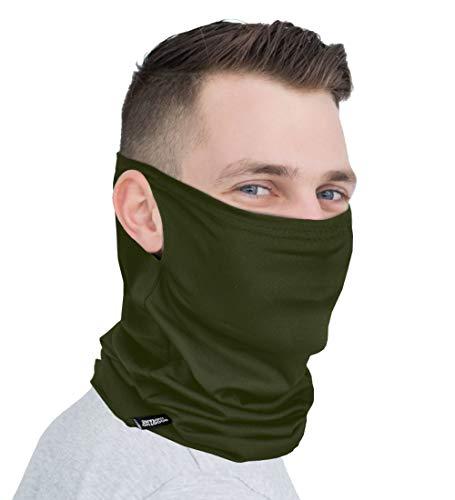 Neck Gaiter Face Mask Cover Multifunctional Running Scarf for Men Women Olive