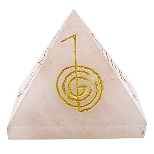 Harmonize Generador de Energía Símbolo curación de Cristal de Cuarzo Rosa Piedra Pirámide Reiki