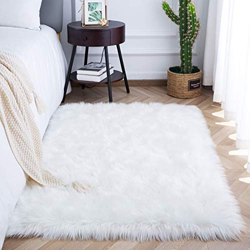 soft rugs for bedrooms White Fluffy Rugs for Bedroom Girls Bedside, Plush Faux Sheepskin Fur Carpet for Living Room Fierplace Sofa Couch, Fuzzy Throw Rug for Home Indoor Decorative Mat, 3x5 Feet