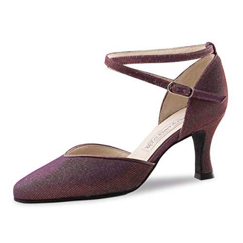 Werner Kern - Damen Tanzschuhe Bella - Brokat Violett - 6,5 cm [UK 6,5]