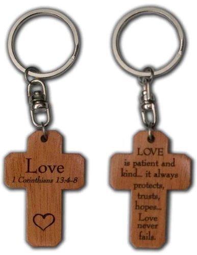 Shalom - Amor 1 Corintios 13,4-8 Cruz Cristiana Llavero de Madera Marrón - El Texto Está en Inglés