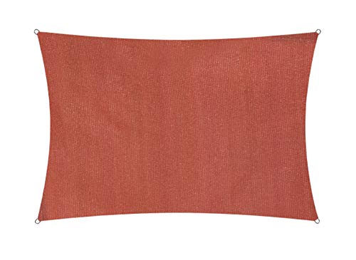 Lumaland toldo Vela de Sombra 100% Polietileno de Alta Densidad Filtro UV Incl Cuerdas Nylon 3x4m Terracotta