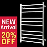 BEE.TECH Towel Warmer 10 Bar Electric Heated Towel Rack Wall Mount Plug-in/Hardwired Heated Towel Rail Mirror Polish