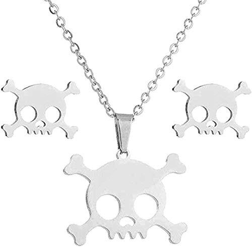 Yiffshunl Collar con Colgante de Esqueleto Retro, Collar de joyería gótica para Mujer, Collares de Calavera Mexicana
