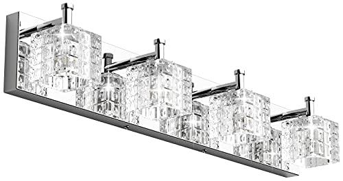 Ralbay Crystal Vanity Light Fixtures 4 Lights LED Modern Chrome Vanity Light Bathroom Fixtures Over Mirror LED Modern Crystal Vanity Lights