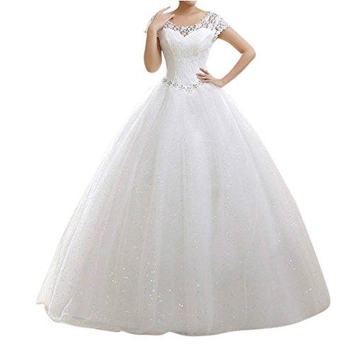 LaoZan Damen Hochzeitskleid Runde Ausschnitt Kurzarm Lange Spitzen Abendkleider Beige S