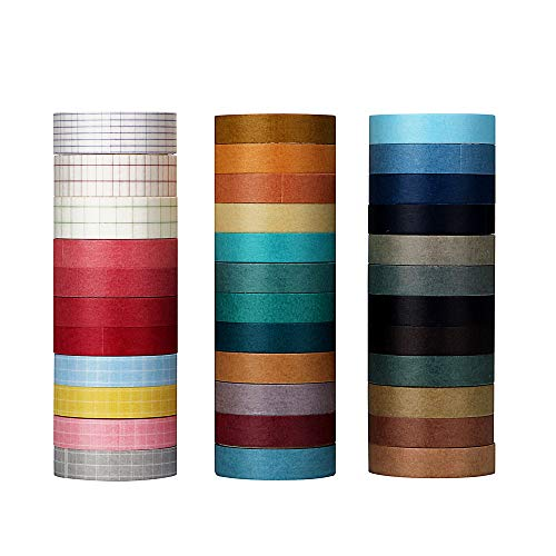 Molshine 35rolls Washi Masking Tape Set,Sticky Paper Tape,Crafts Tape for DIY,Bullet Diary Decorative,Gift Wrapping,Scrapbook,Office,Party Supplies,Collection- Pure Color and Grid Series