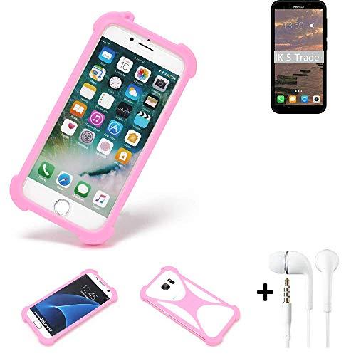 K-S-Trade Bumper + Kopfhörer Für HiSense Infinity F17 Pro Handyhülle Schutzhülle Silikon Schutz Hülle Cover Case Silikoncase Silikonbumper TPU Softcase Smartphone, Pink (1x)