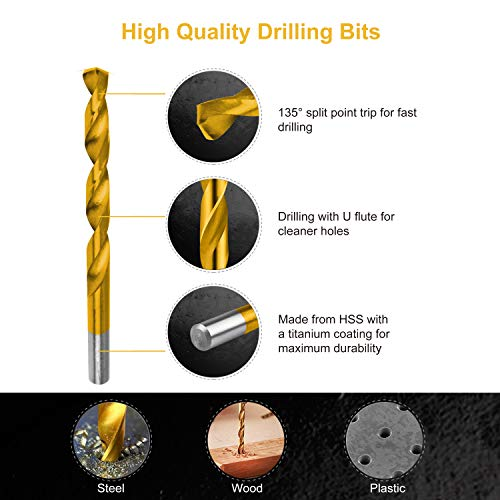 230 Pieces Titanium Twist Drill Bit Set, Anti-Walking 135° Tip High Speed Steel, Size from 3/64