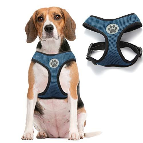 Soft Mesh Dog Harness Pet Walking Vest Puppy Padded Harnesses Adjustable, Navy Medium