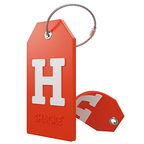 Initial Luggage Tag with Full Privacy Cover and Stainless Steel Loop – (Letter H)