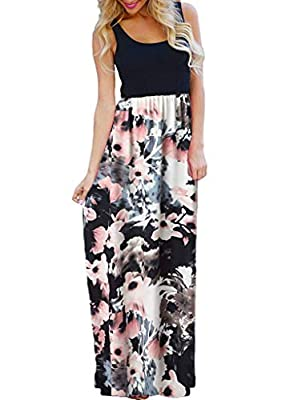 OURS Women's Casual 3/4 Sleeve Floral Print Dresses Ethnic Style Party Long Maxi Dresses with Pockets