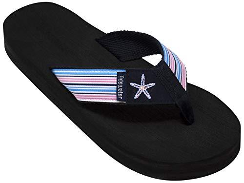 Tidewater Boardwalk Collection Women's Flip Flop Sandals (8, Starfish Stripes)