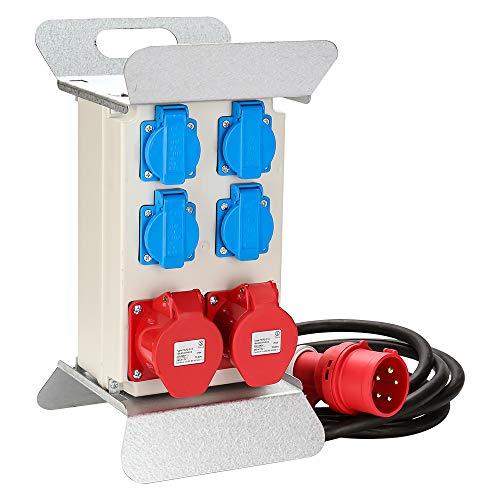 wolketon Verteiler Baustromverteiler Stromverteilung CEE 2 x 16A 400V+4x 230V 5 Polig IP44 Schuko Stromverteiler Wandverteiler Mit Sicherheitsklappdeckeln Leitung Für Baustelle
