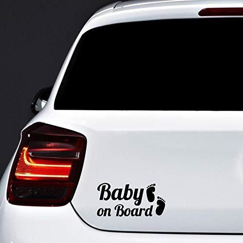 Autodomy Pegatinas Baby On Board Bebé a Bordo Pies Baby in Car Pack 2 Unidades para Coche (Negro)