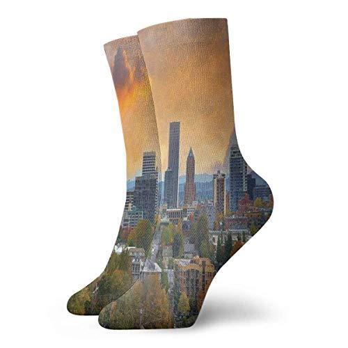 Ciudad de Portland en otoño temporada centro y distrito de negocios urbano fotografía zapatilla calcetines para mujer, calcetines divertidos 30 cm