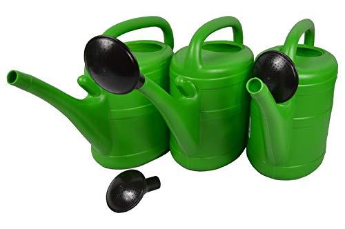 Unbranded 3 X Gießkanne 10 Liter Grün mit Maßeinteilung mit Aufsteckbrause für Garten, Beet, Grab Pflege usw.