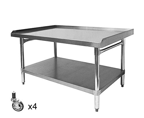 "ACE All Galvanized Equipment Stand with Set of Four 4"" Stem Casters. (ETL Certified) Size:30"" W x 48-1/2""L x 27"" H, Model#ES-E3048+KS4113"