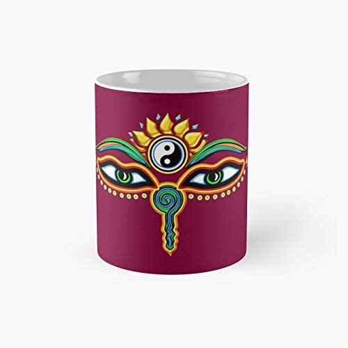 Buddha Eyes Symbol Wisdom Enlightenment Classic Mug - A Novelty Ceramic Cups Inspirational Holiday Gifts For Morther's Day, Men & Women, Him Or Her, Mom, Dad, Sister, Brother, Coworkers, Bestie.