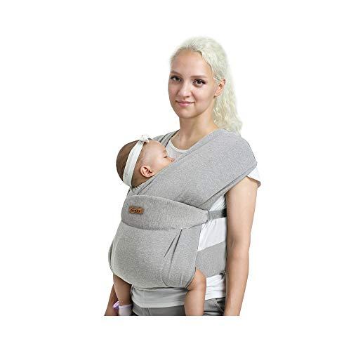 CUBY Verbessert Babytragetuch,Baby Tragetuch Neugeborene,Atmungsaktiv, einfach, hautfreundlich und weich (Klassisch hellgrau)