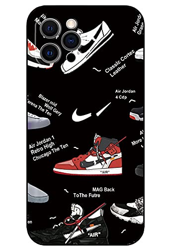 Silicone Case Compatible with iPhone 12 Pro, Basketball Shoes Cool iPhone 12 Pro Case for Boys Funny Graphic Fashion Silicone Gel Rubber Shockproof Cover Full Body Drop Protection - Black