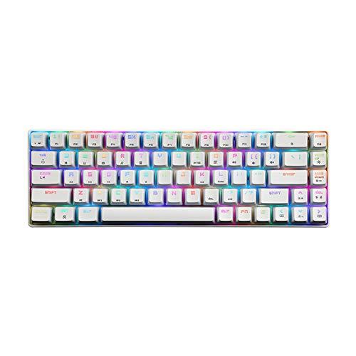 YWF Keycaps 14 RGB Retroiluminación Gaming Keyboard 68 Teclas Panel de Metal N-Key Rollover Teclado Floating Key-Caps Interruptor Azul Teclado de hotswap (Color : White)