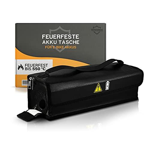 Wheeloo feuerfeste Akku Tasche für E-Bike Fahrradakku & LIPO Batterie I inkl. Klettverschluss, Reißverschluss, Kabeldurchführung für Lagerung, Transport, Aufladung (für kleine bis mittlere Akkus)