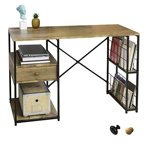 SoBuy Scrivania per Computer con 1 cassetto e 4 Ripiani, utilizzata per L'Ufficio e la Camera da Letto con Struttura in Ferro 118 x 48 x 75 cm FWT61-N