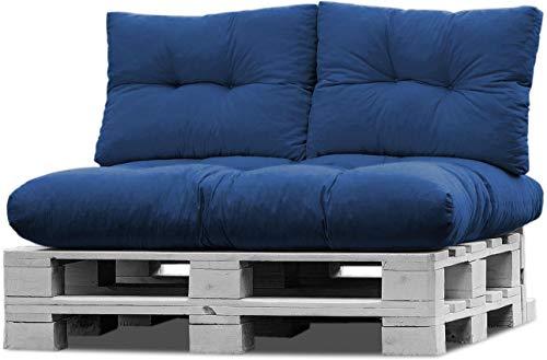 normani Palettenkissen Set Sofa Sitzkissen mit Rückenkissen Outdoor Palettenauflagen (Sitzkissen Gesteppt 120x80) Farbe Cobalt