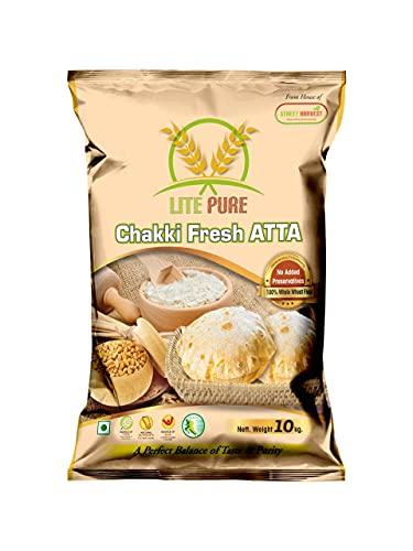 LITE PURE Chakki Fresh Atta, 10 kg, 100% Whole Wheat Atta