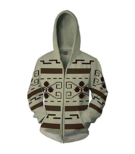 VOSTE Jeffrey Lebowski Cosplay Jacket The Dude Zip Up Hoodie Costume (Small, Color 1)
