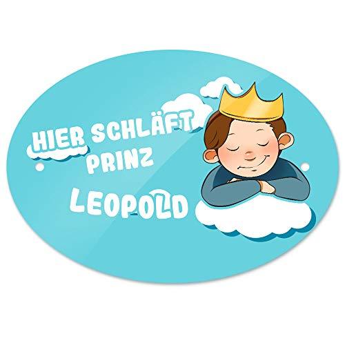 Eurofoto Türschild mit Namen Leopold und Prinz-Motiv - Hier schläft Prinz Leopold -   Kinderzimmer-Schild