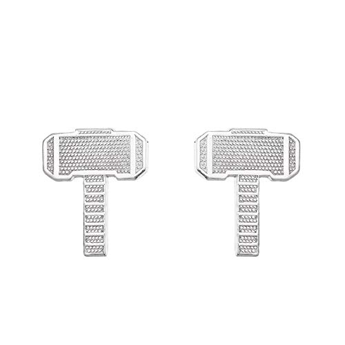 Marvel Offically Licensed Jewelry for Women Superhero Thors Hammer Sterling Silver Stud Earrings, Post And Nut Clasp
