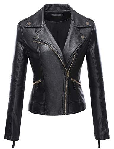 Tanming Women's Faux Leather Collar Moto Biker Short Coat Jacket (Small, Black10)
