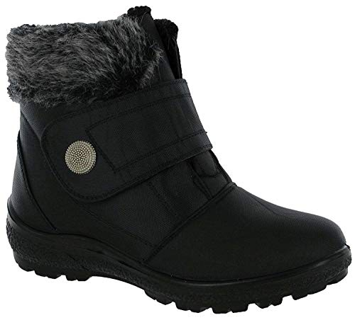 Cushion Walk Womens Thermo-Tex, Touch & Close Fastening, Comfort Fit Winter Boots in Black - Bethany (Numeric_8)