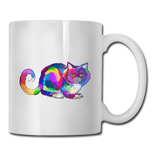 Shenhui Rainbow Kitten Surprise Cat Beker - Have A Coffee | Koffiebeker | Cadeaumok - Keramiek 9 Cm / 330 Ml
