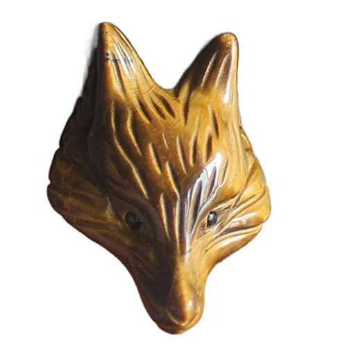 1.4'' Hand Carved Gemstone Crystal Golden Tiger Eye Fox Head for Necklace Pendant Bead