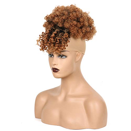DIIYIV Hairpieces Hair Bun Kinky Curly Hair Extensions Drawstring Ponytails Curly Ponytail Extension Clip In Bangs Messy Bun Hair Piece Afro Puff Drawstring Ponytail