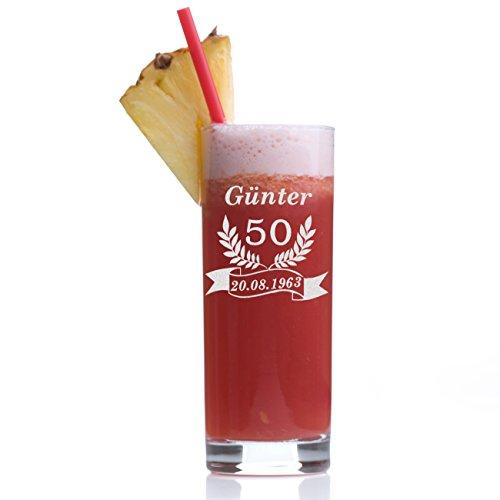 Stölzle Lausitz Wasserglas Longdrinkglas mit Gravur - Saftglas Barglas personalisiert mit einem Jubiläums-Motiv - Geschenk-Idee zum Geburtstag - Cocktail-Glas 405 ml